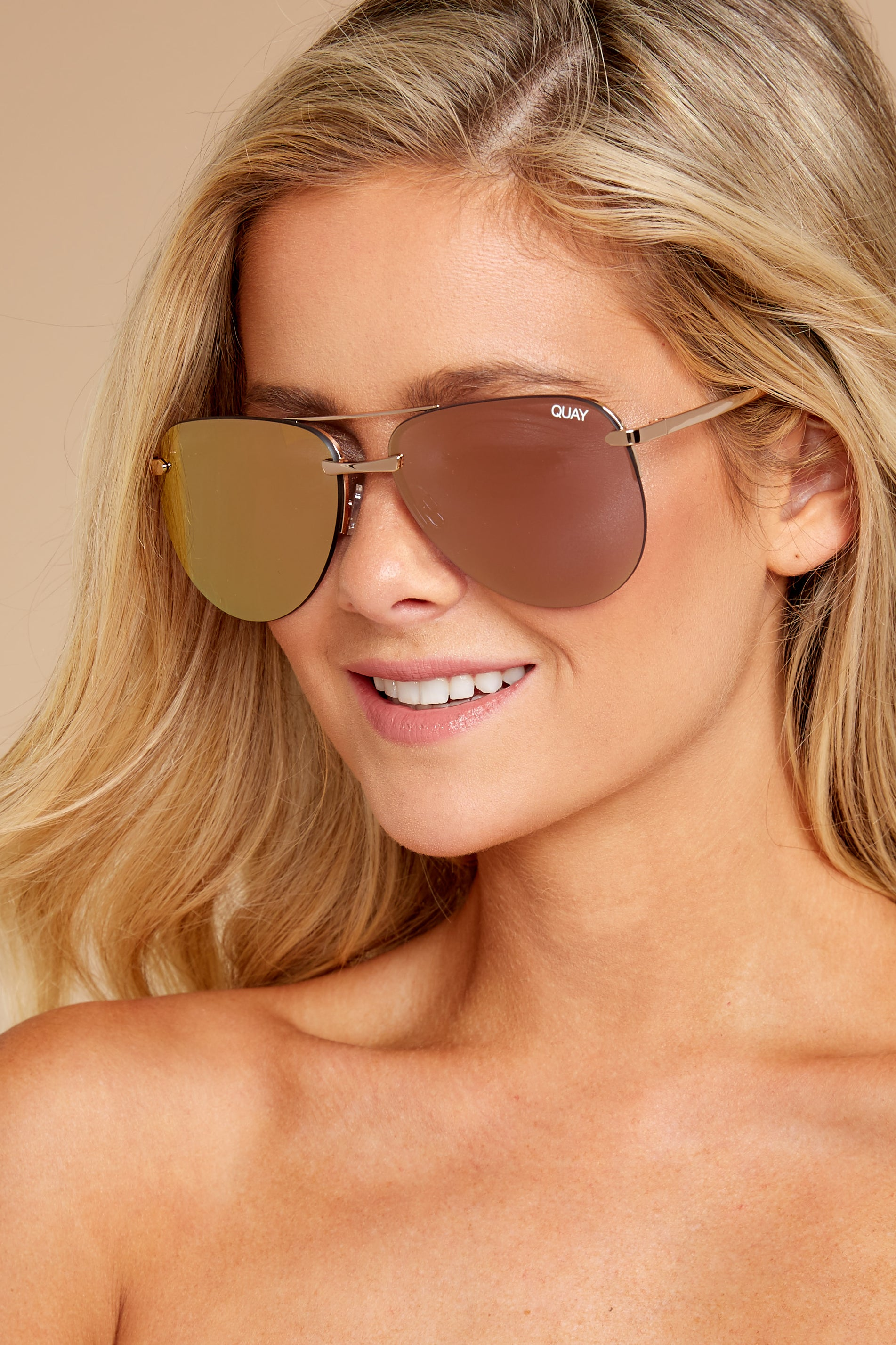 1 Playa Gold Pink Sunglasses at reddressboutique.com