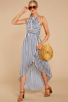 Striped Print Wrap Shirred High-Low-Hem Empire Waistline Polyester Halter Dress