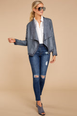 2 Same To You Dark Grey Reversible Jacket at reddressboutique.com