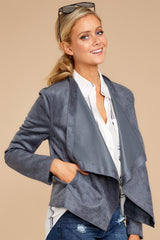 6 Same To You Dark Grey Reversible Jacket at reddressboutique.com
