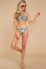 3 Moving To Maui Blue Tropical Print Bikini Bottom at reddressboutique.com
