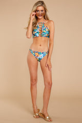 4 Moving To Maui Blue Tropical Print Bikini Bottom at reddressboutique.com