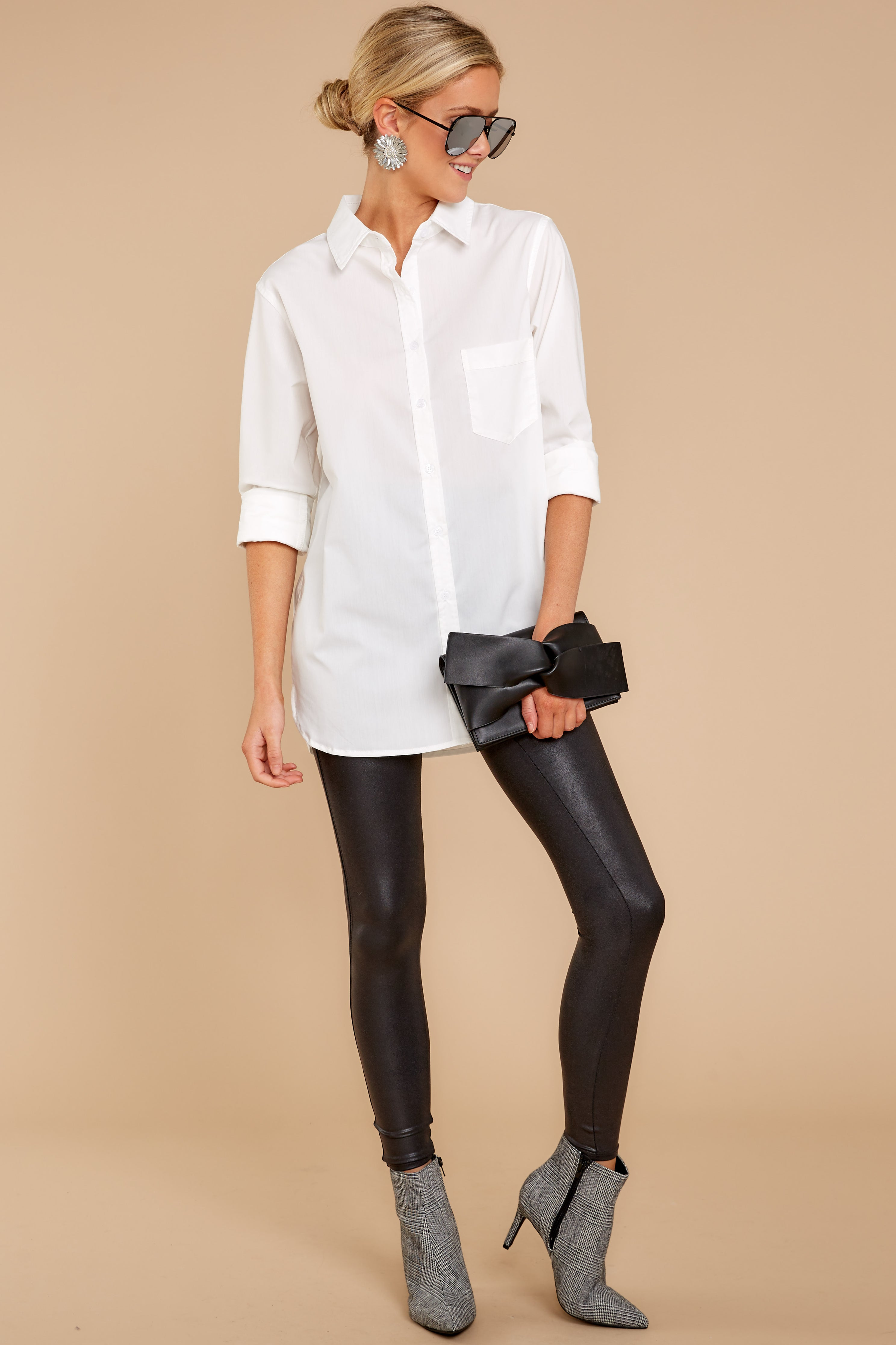 1 Not So Risky Business White Button Up Top at reddress.com
