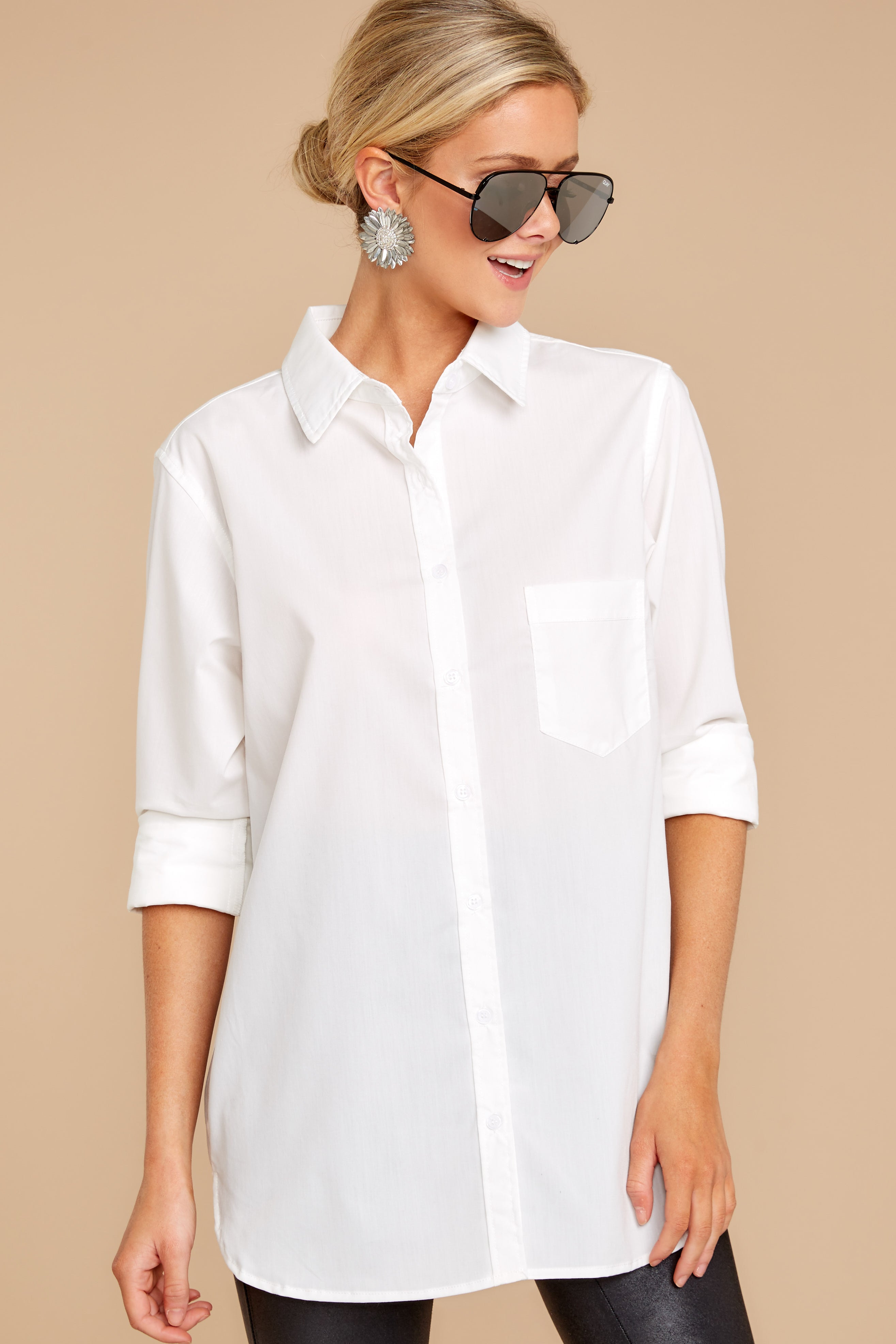4 Not So Risky Business White Button Up Top at reddress.com