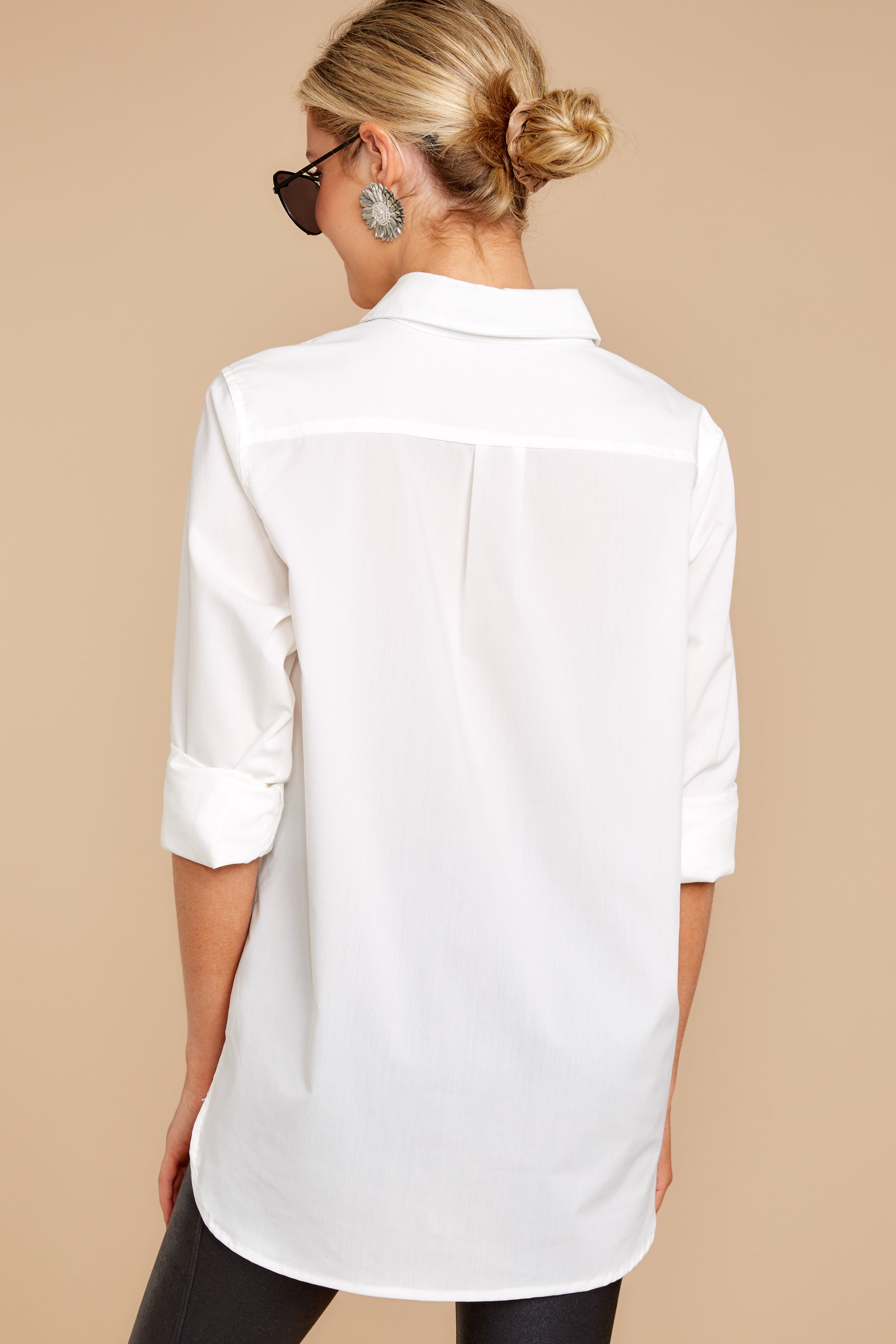 5 Not So Risky Business White Button Up Top at reddress.com