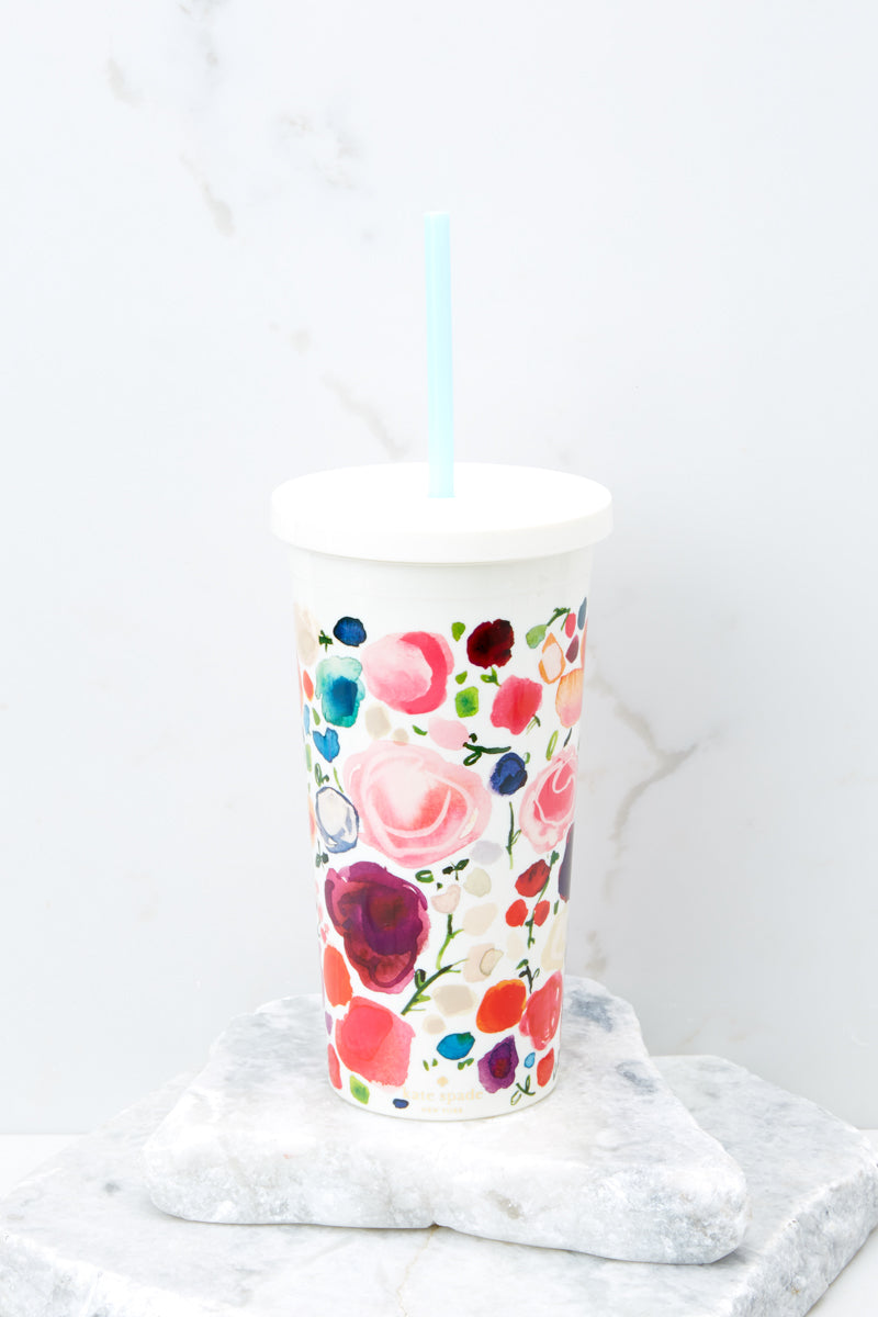 1 Floral Tumbler With Straw at reddress.com