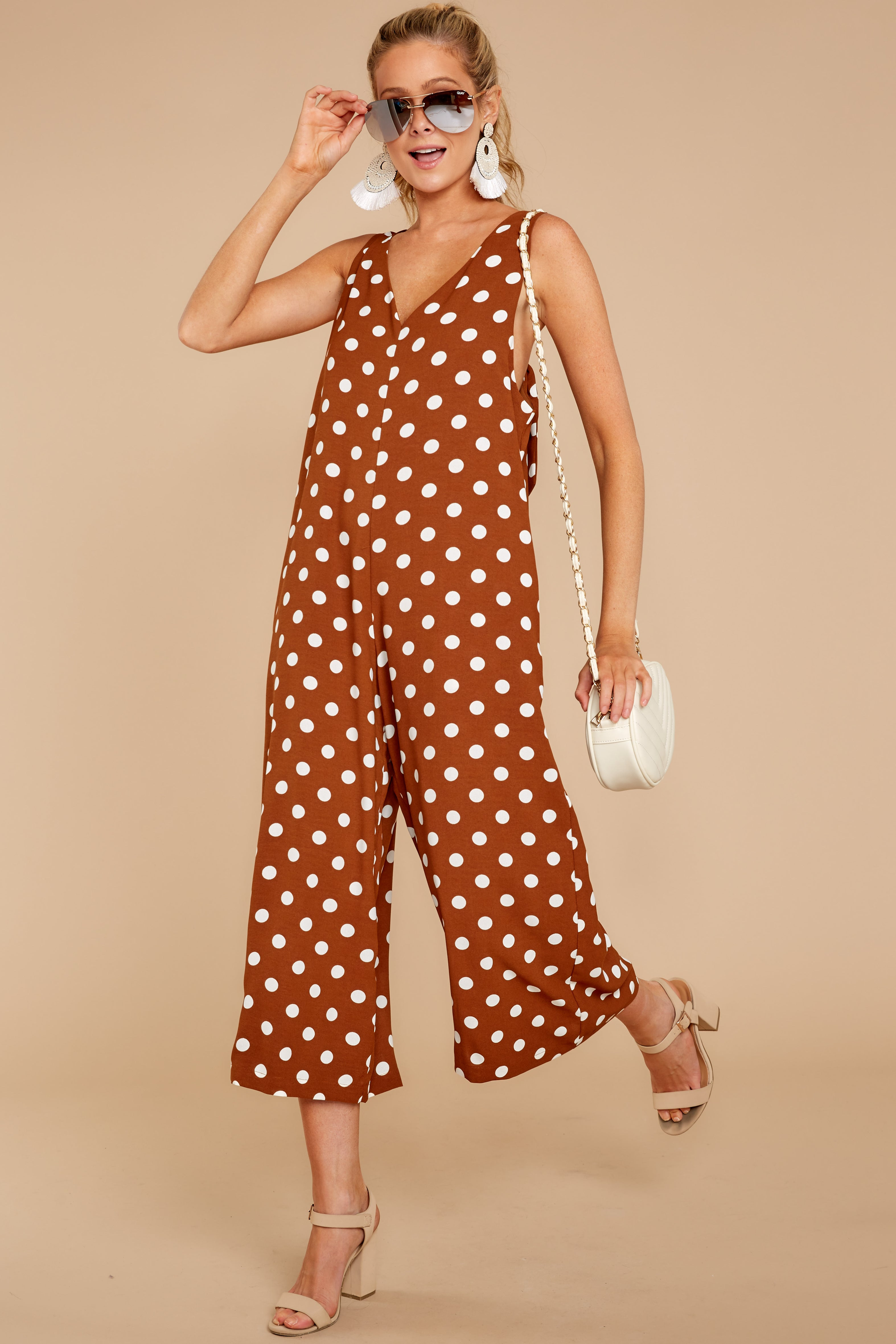 b4a2e734b22 Trendy Brown Polka Dot Jumpsuit - Wide Leg Playsuit - Jumpsuit -  49 ...