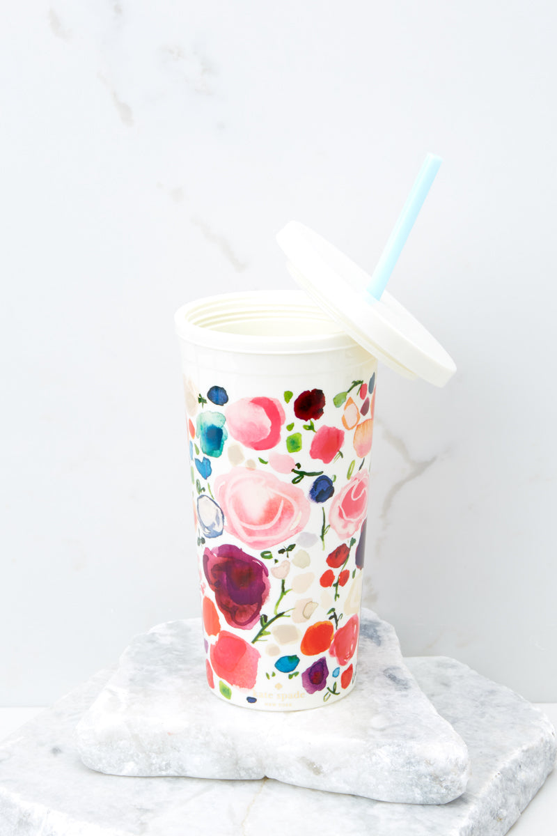 2 Floral Tumbler With Straw at reddress.com
