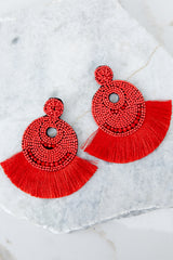 1 Greatest Ever Red Statement Earrings at reddressboutique.com