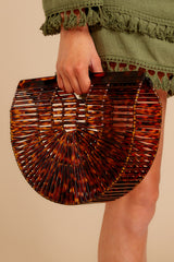 3 Up Your Style Brown Tortoise Acrylic Bag at reddress.com