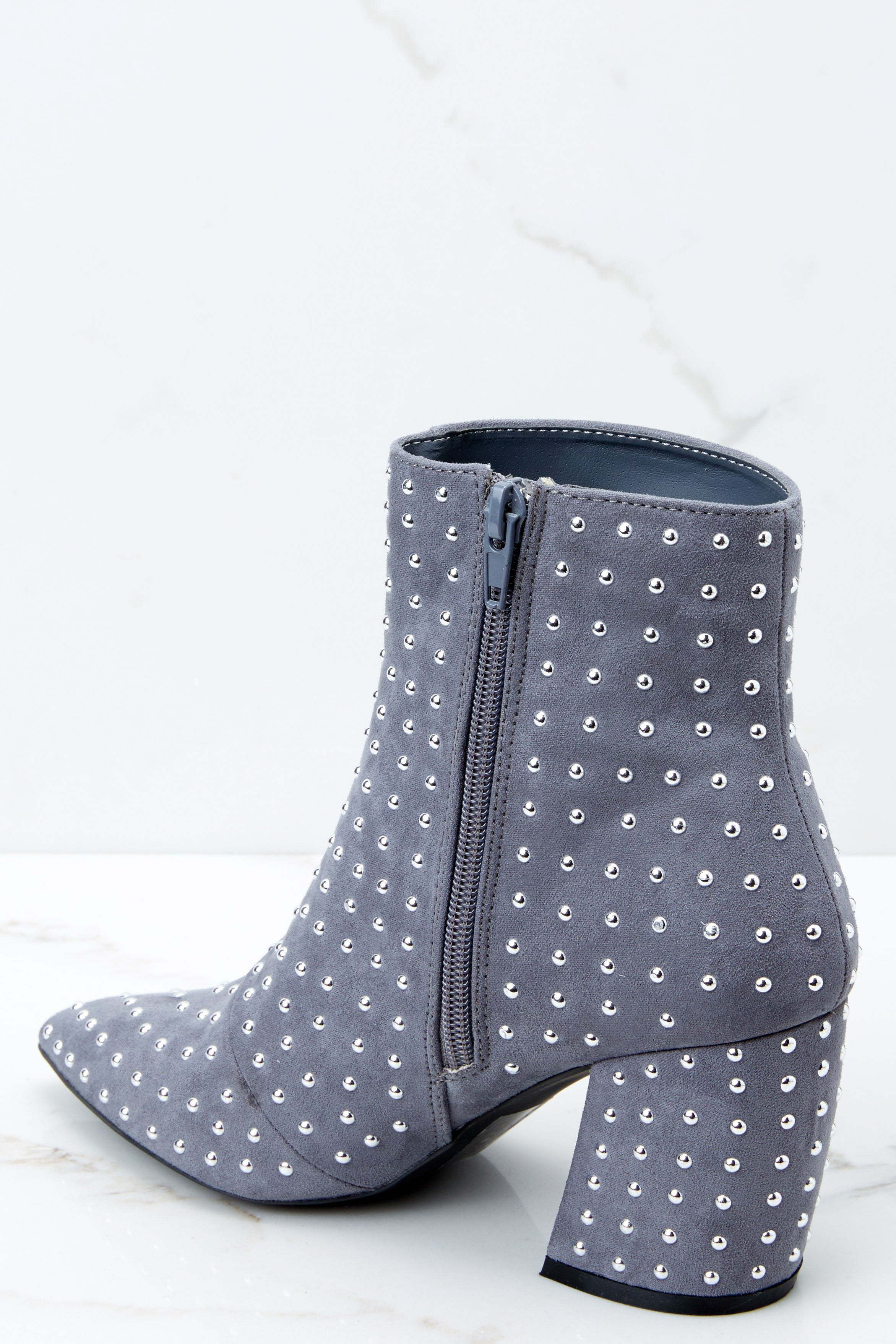 3 Studded Statement Grey Ankle Booties at reddressboutique.com