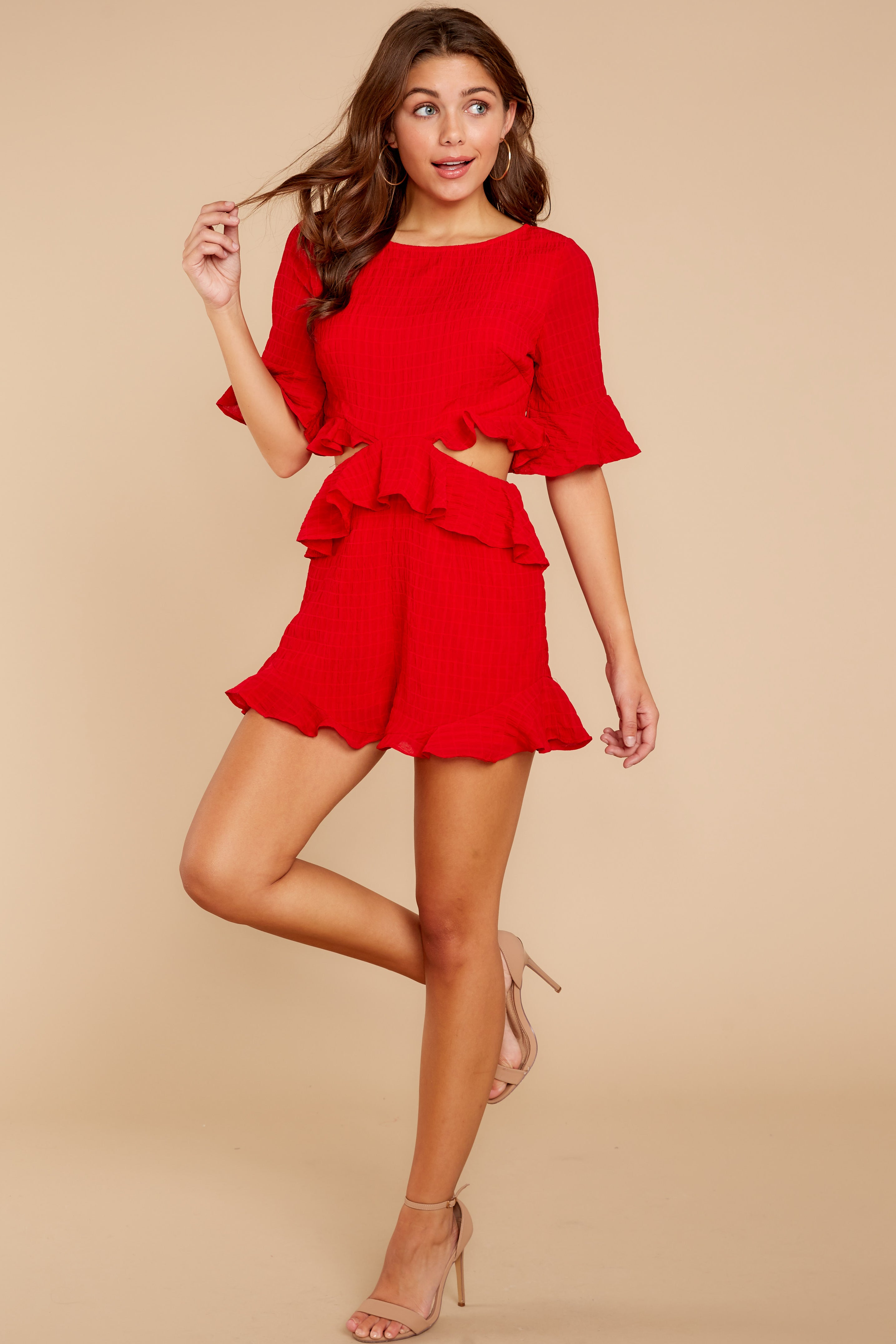 298edda2fc8a Flirty Red Romper - Trendy Short Ruffled Romper - Playsuit -  48.00 ...