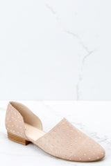 1 Star Studded Show Taupe Flats at reddressboutique.com