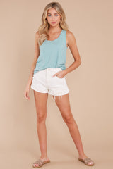 2 The Tile Blue Cotton Slub Scoop Tank at reddress.com
