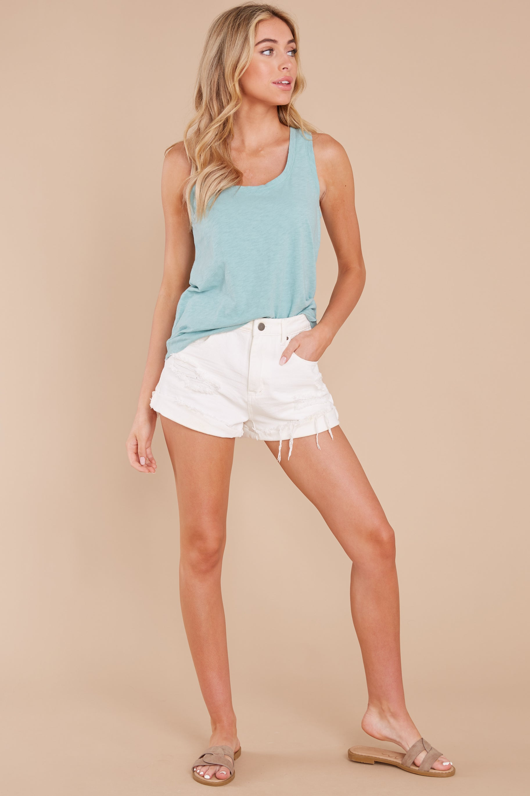 3 The Tile Blue Cotton Slub Scoop Tank at reddress.com