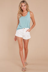 4 The Tile Blue Cotton Slub Scoop Tank at reddress.com