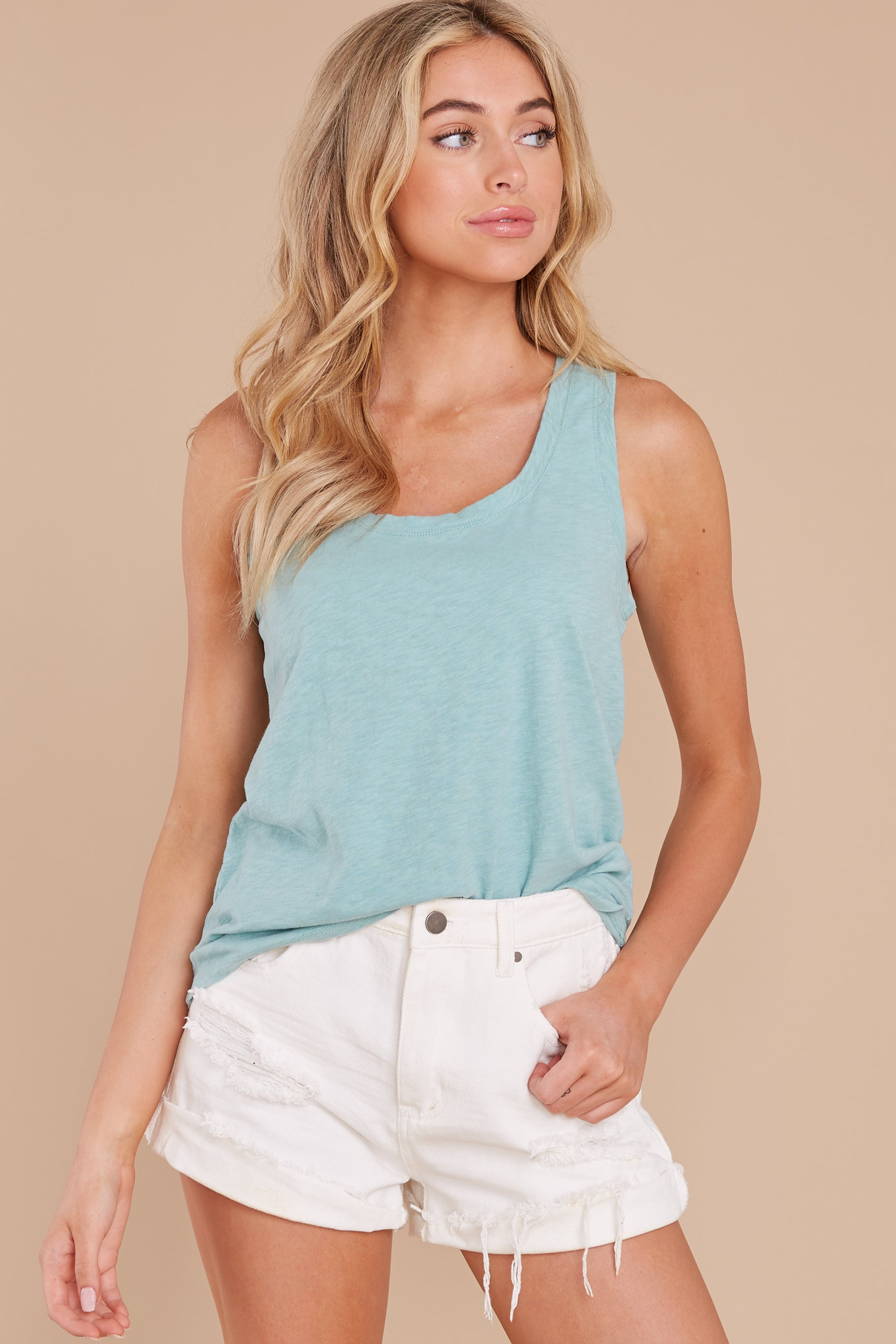 5 The Tile Blue Cotton Slub Scoop Tank at reddress.com