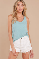 1 The Tile Blue Cotton Slub Scoop Tank at reddress.com