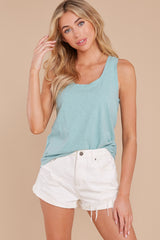 6 The Tile Blue Cotton Slub Scoop Tank at reddress.com