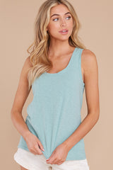 7 The Tile Blue Cotton Slub Scoop Tank at reddress.com