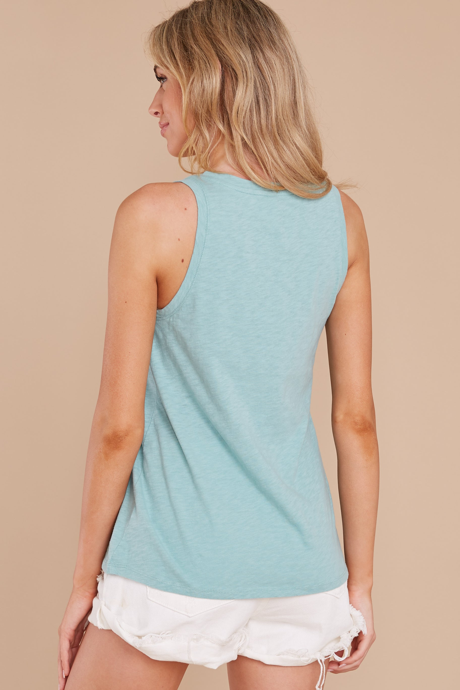 8 The Tile Blue Cotton Slub Scoop Tank at reddress.com