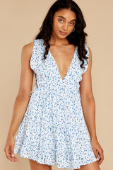 Be That Feeling Blue Floral Print Dress