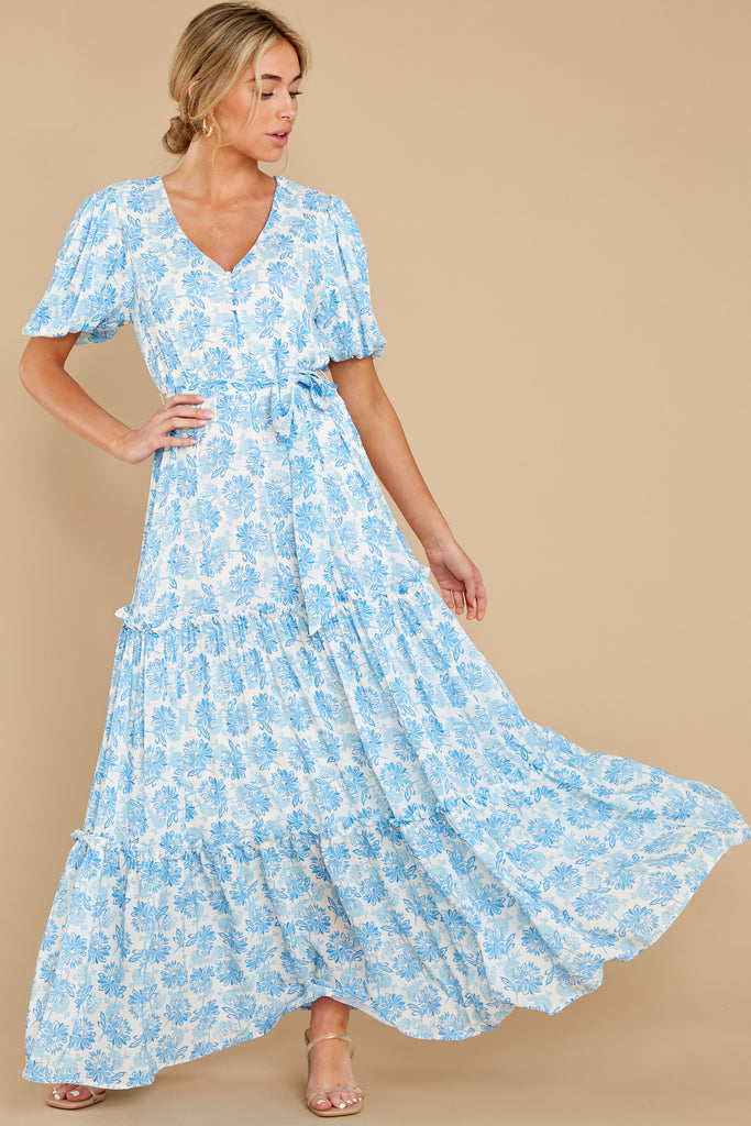 1 Never Austere Dusty Blue Midi Dress at reddress.com