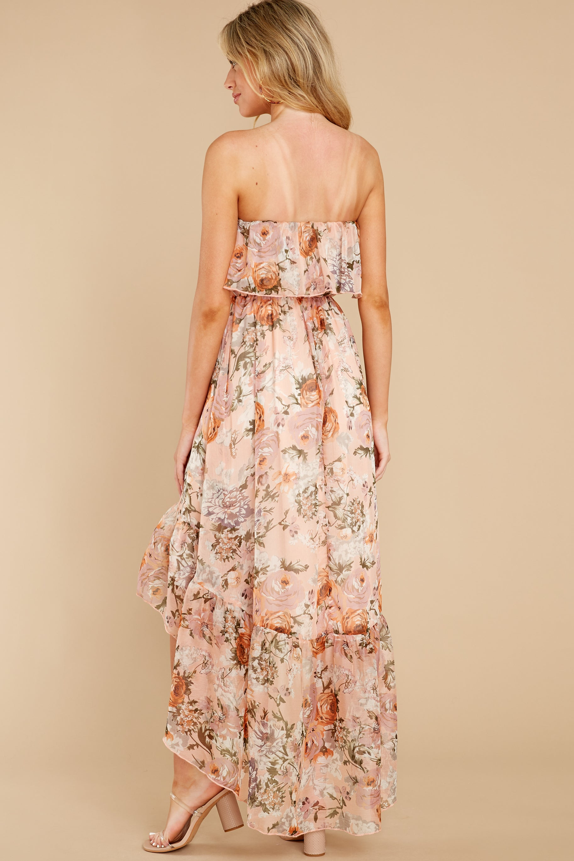 One Sure Way Blush Floral Print High-Low Dress