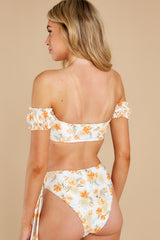 7 Daybreak White Floral Print Bikini Top at reddress.com