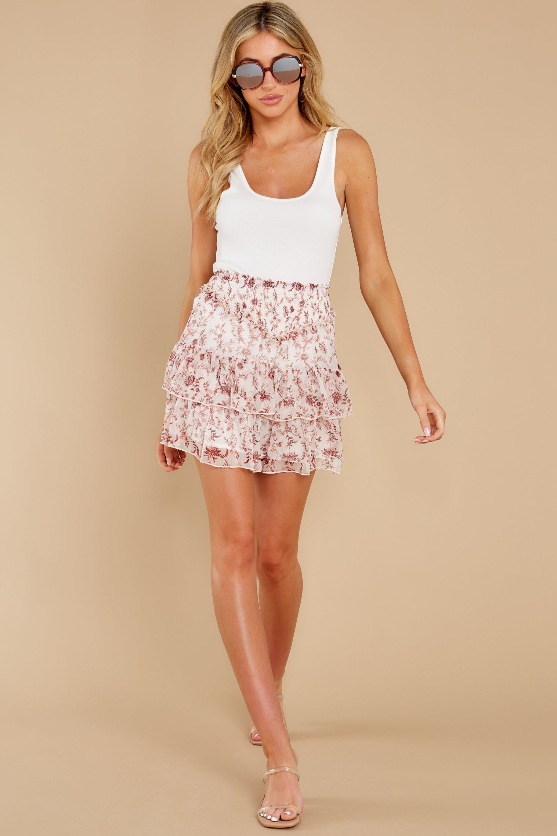 4 Melannie White Print Mini Skirt at reddress.com