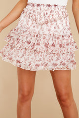 1 Melannie White Print Mini Skirt at reddress.com