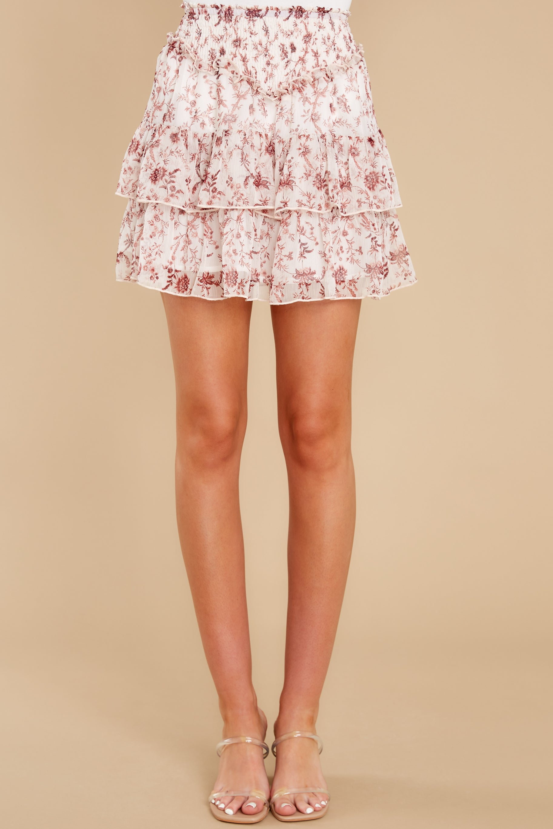 2 Melannie White Print Mini Skirt at reddress.com
