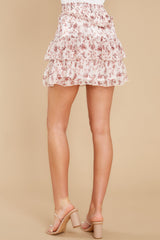 3 Melannie White Print Mini Skirt at reddress.com