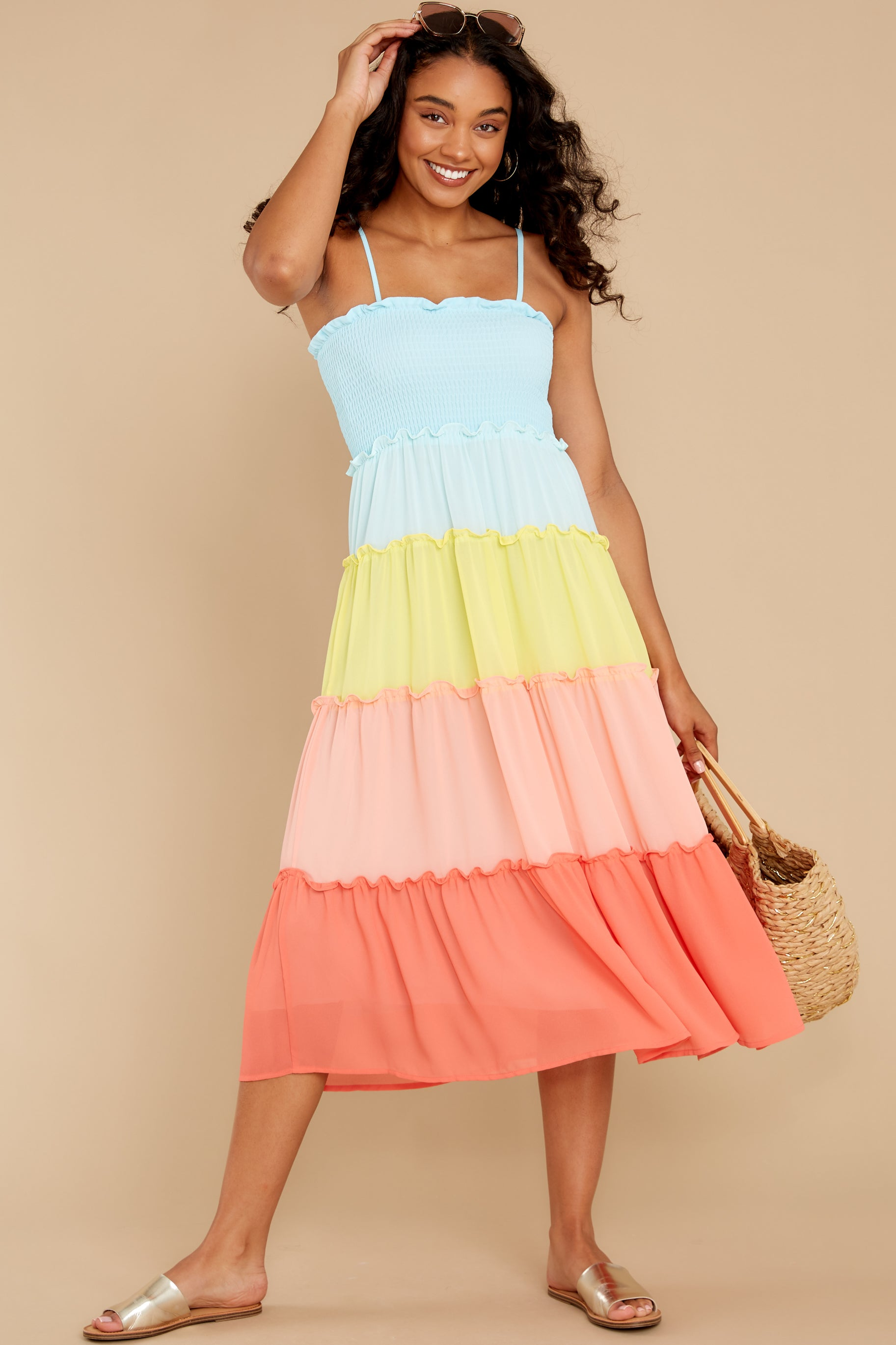 4 Endless Summer Bright Turquoise Multi Maxi Dress at reddress.com