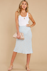 1 Adore It Sky Blue Floral Print Skirt at reddress.com