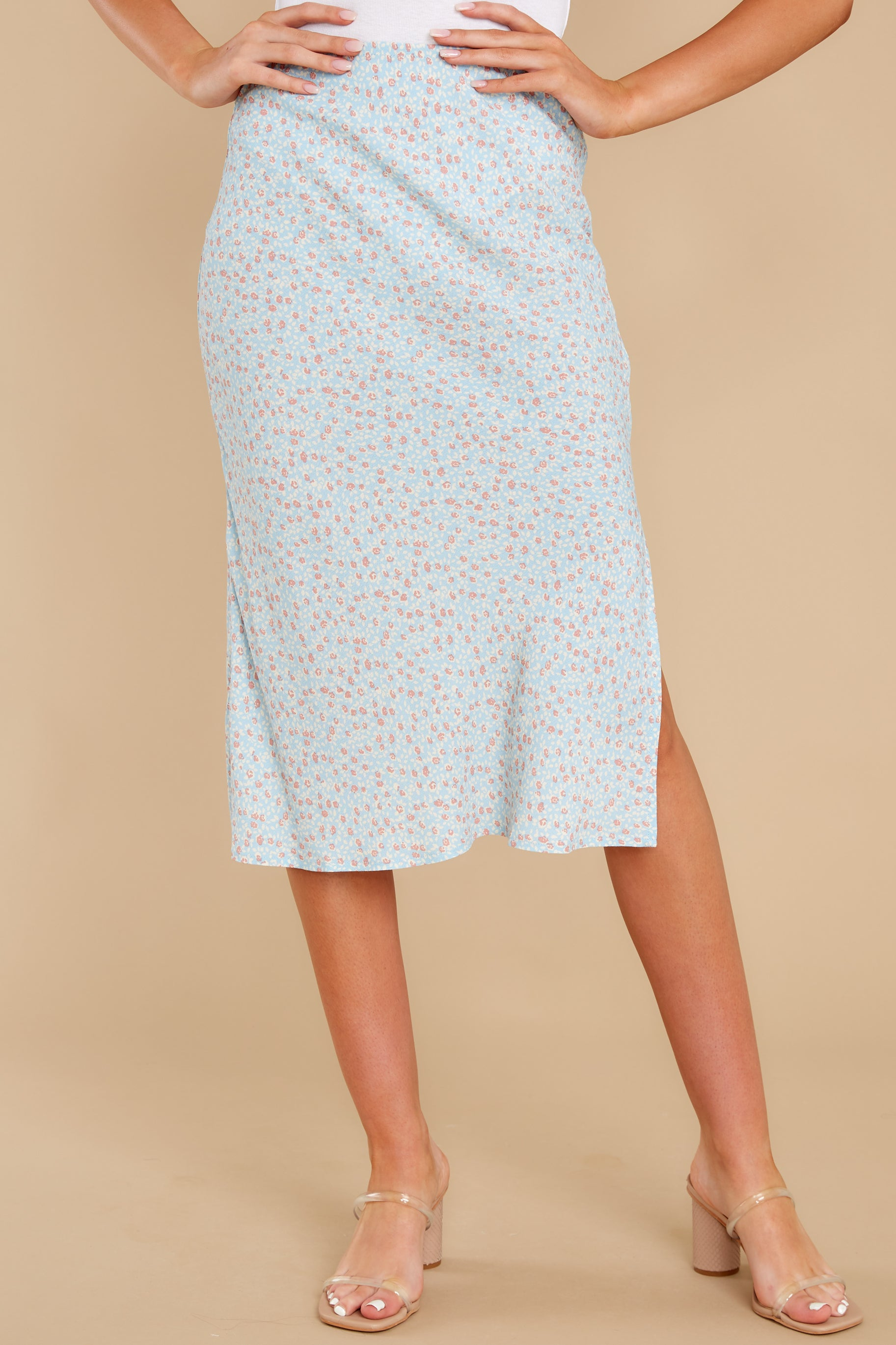 5 Adore It Sky Blue Floral Print Skirt at reddress.com