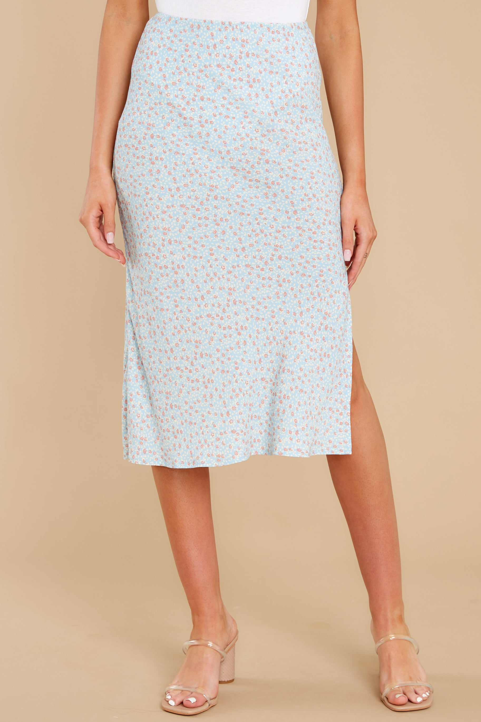 6 Adore It Sky Blue Floral Print Skirt at reddress.com