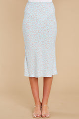 7 Adore It Sky Blue Floral Print Skirt at reddress.com