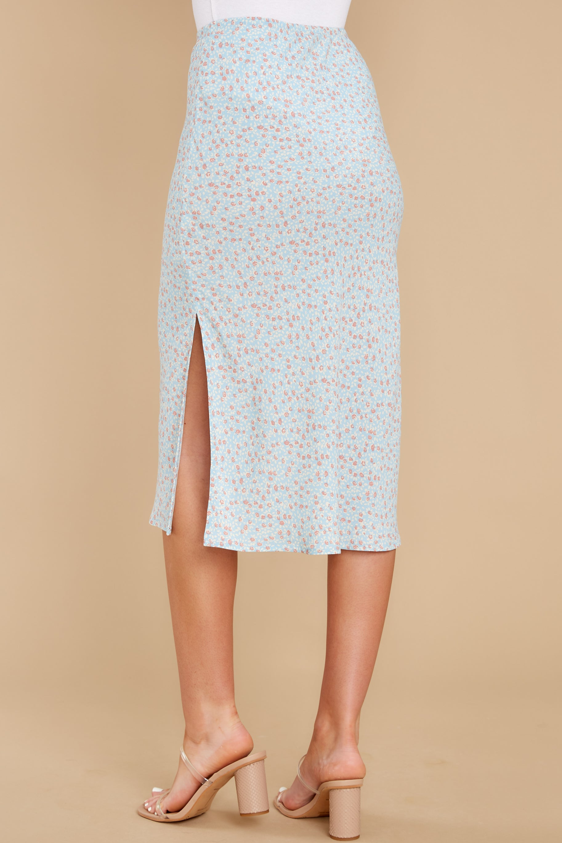 8 Adore It Sky Blue Floral Print Skirt at reddress.com