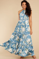 5 Fully Enamored Blue Multi Floral Print Maxi Dress at reddress.com