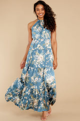 6 Fully Enamored Blue Multi Floral Print Maxi Dress at reddress.com