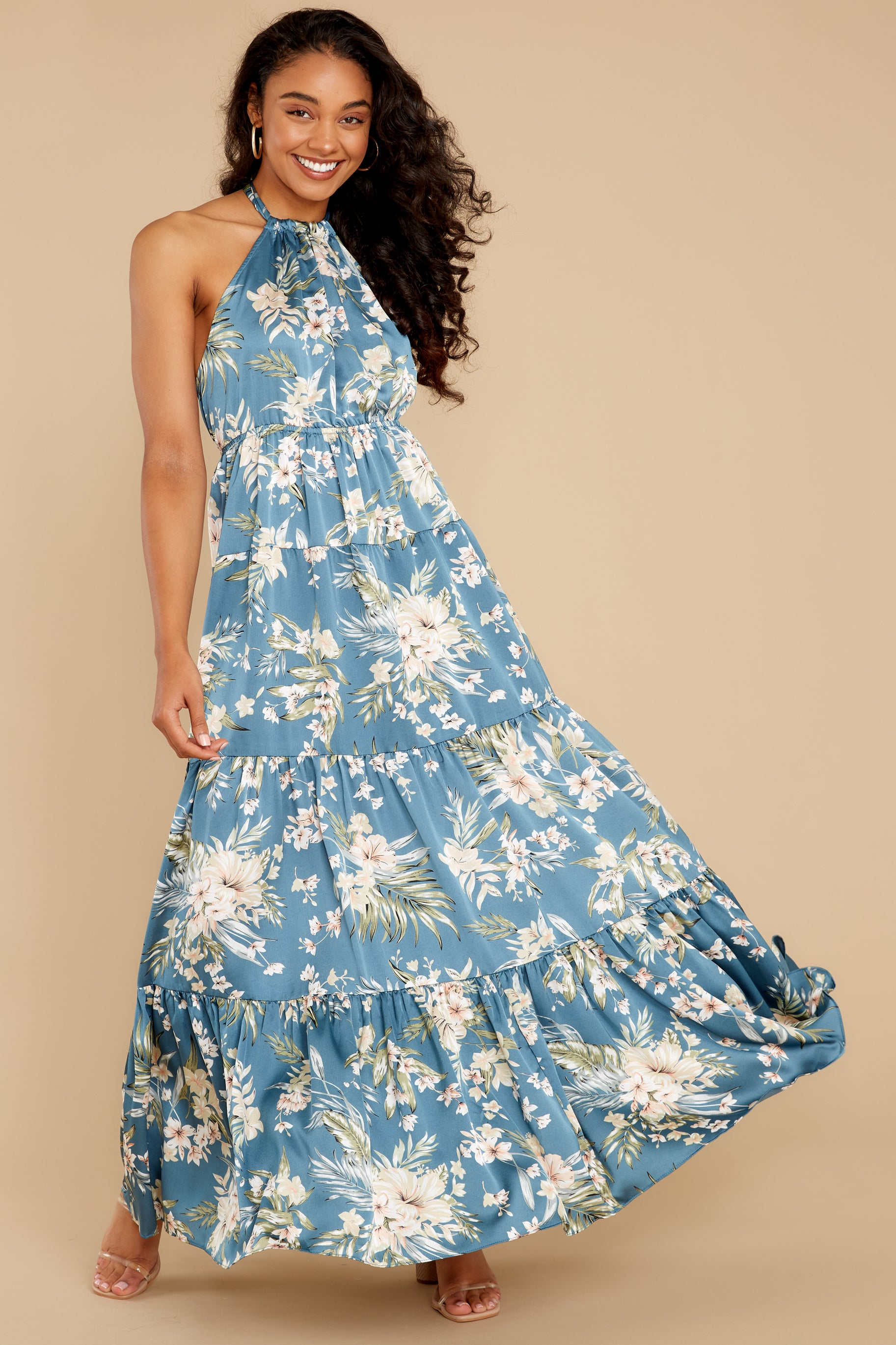 3 Fully Enamored Blue Multi Floral Print Maxi Dress at reddress.com