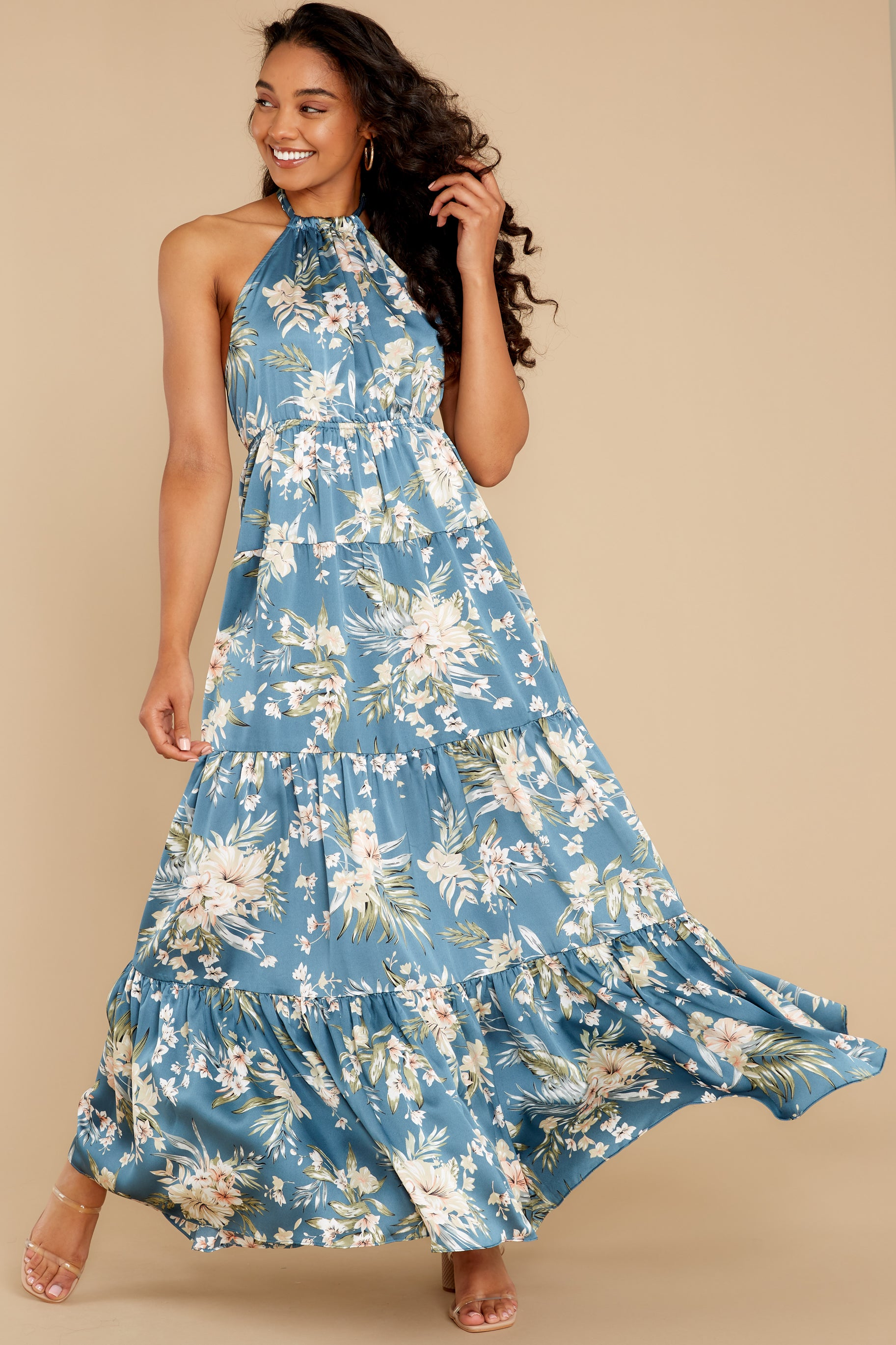 1 Fully Enamored Blue Multi Floral Print Maxi Dress at reddress.com