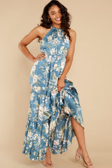 2 Fully Enamored Blue Multi Floral Print Maxi Dress at reddress.com
