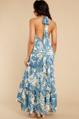 7 Fully Enamored Blue Multi Floral Print Maxi Dress at reddress.com