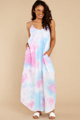 1 Part Of Your Charm Pink Multi Tie Dye Maxi Dress at reddress.com