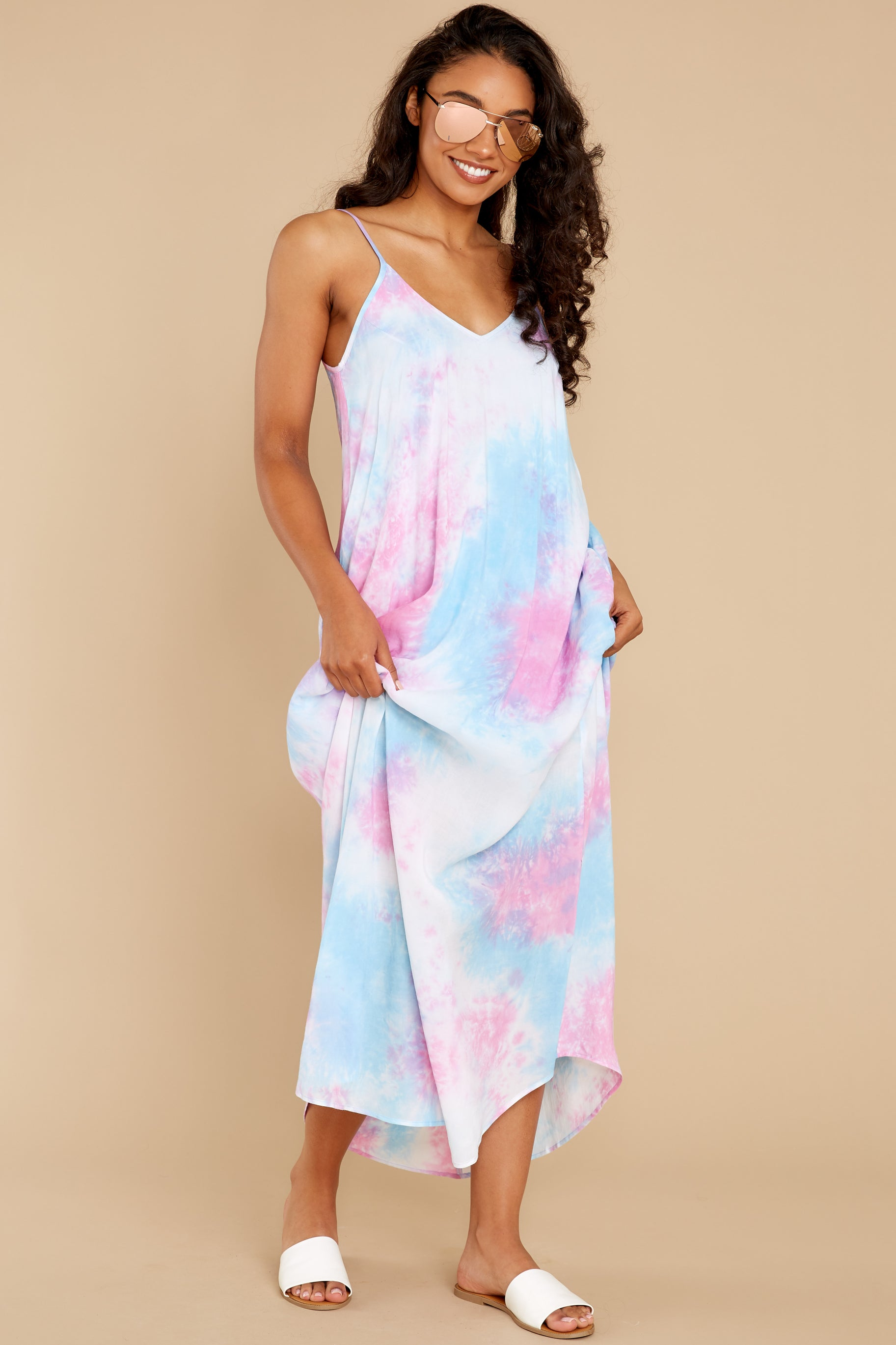5 Part Of Your Charm Pink Multi Tie Dye Maxi Dress at reddress.com
