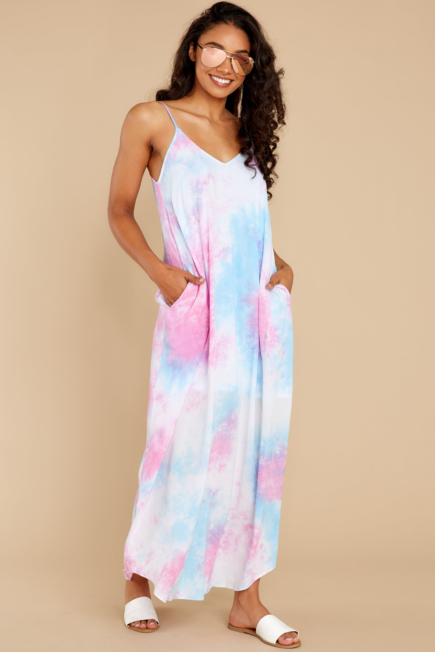 4 Part Of Your Charm Pink Multi Tie Dye Maxi Dress at reddress.com