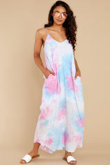6 Part Of Your Charm Pink Multi Tie Dye Maxi Dress at reddress.com