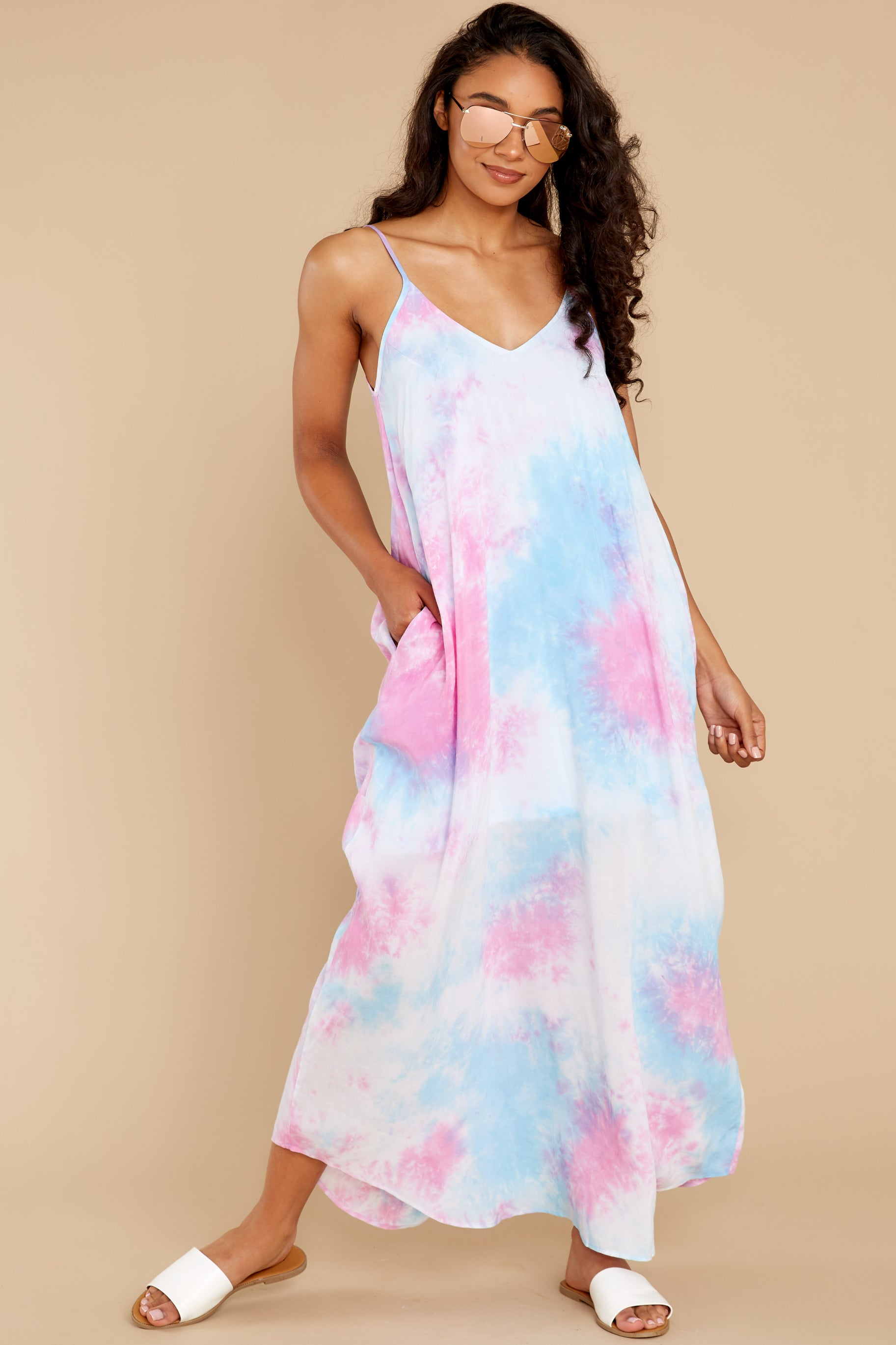2 Part Of Your Charm Pink Multi Tie Dye Maxi Dress at reddress.com